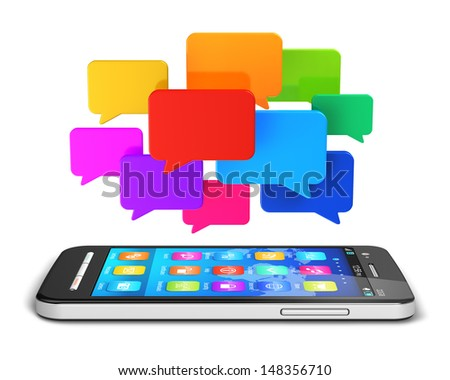 Creative mobile communication technology, web social media, online messaging and business mobility internet concept: smartphone with cloud of color speech bubbles or balloons isolated on white - stock photo