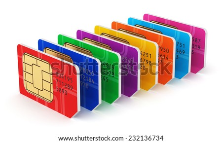 Creative mobile telecommunication, wireless technology and mobility business communication internet concept: group of color SIM cards for mobile phone or smartphone isolated on white background - stock photo