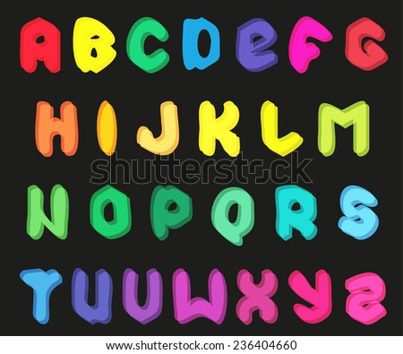 Creative multicolor alphabet set on black background. illustration  - stock photo
