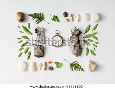 Creative natural layout made of leaves, stones, and tree bark on white background. Flat lay. - stock photo