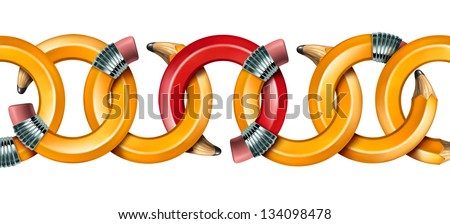 Creative network concept with curved pencils as chain links linked together with a red pencil as the key link holding the team in solidarity isolated on a white background. - stock photo