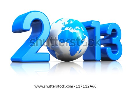 Creative New Year 2013 concept with blue glossy Earth globe isolated on white background with reflection effect - stock photo