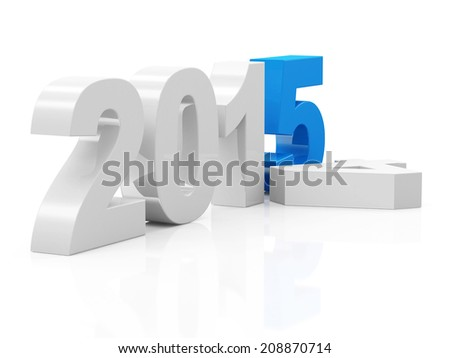 Creative New Year 2015 isolated on white background