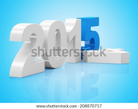 Creative New Year 2015 on blue background