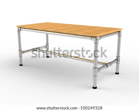 creative office desk rendering isolated on a white background - stock photo