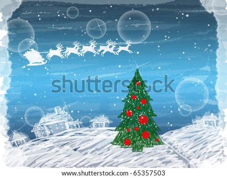 Creative painted winter christmas card