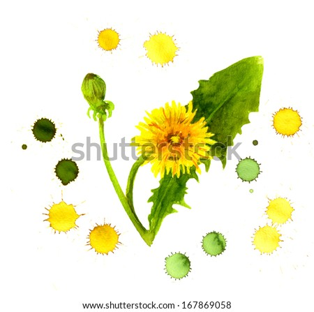Creative painting of yellow dandelion in color spray droplets - stock photo