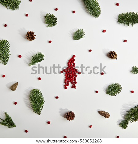 Creative Pattern of Christmas Decoration.  Flat Lay