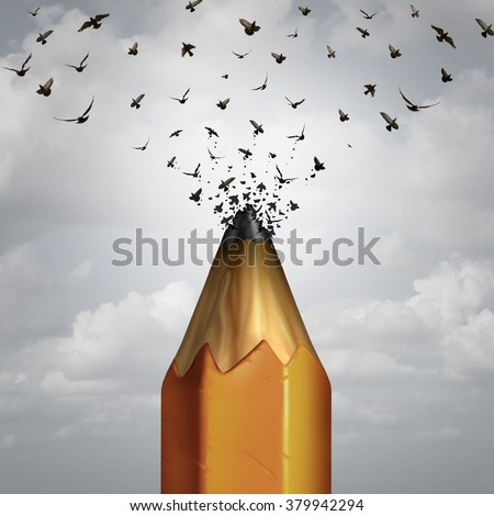 Creative pencil and take flight success concept as the lead of a pencil tip breaking away transforming into a group of birds taking off as an icon of marketing education and business creativity.