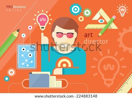 Creative people design occupations art director employment designer profession flat design cartoon style. Raster version - stock photo