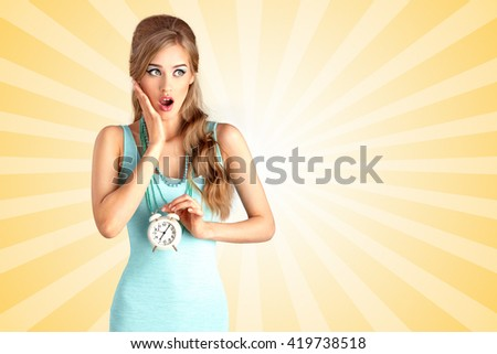 Creative photo of a shocked pin-up girl being late and holding a retro alarm clock on colorful abstract cartoon style background. - stock photo
