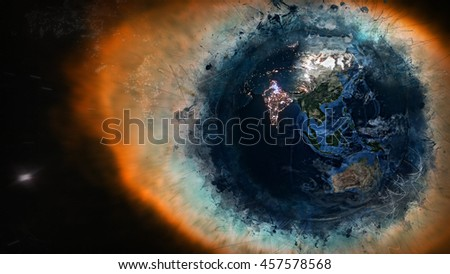 Creative Planet Earth's Global Artwork - Cosmos, Universe, Galaxies - India, Asia & Australia (Elements of this image furnished by NASA)  - stock photo
