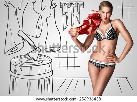 Creative portrait of a beautiful sexy female butcher in bikini holding raw meat on her shoulder on sketchy background of a butcher shop. - stock photo