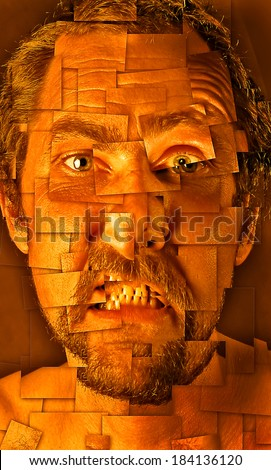 Creative portrait of middle-aged bearded man frustrated broken into pieces - stock photo