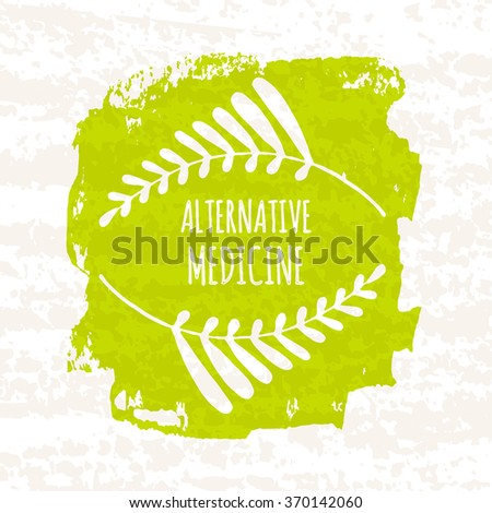 Creative poster colorful green for the logos of the shops that sell herbs and alternative health herbal medications and supplements isolated on white background with paper texture.  illustration - stock photo