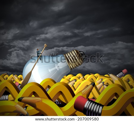 Creative problem solving and business management concept as a businessman sitting on a lightbulb with a boat paddle navigating on an ocean made of pencils shaped as waves as a symbol of strategy. - stock photo