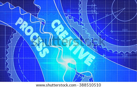 Creative Process on the Mechanism of Cogwheels. Blueprint Style. Technical Design. 3d illustration with Lens Flare. - stock photo