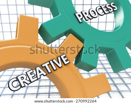 Creative Process on the Mechanism of Colorful Cogwheels - stock photo