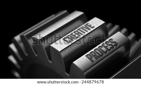 Creative Process on the Metal Gears on Black Background.  - stock photo