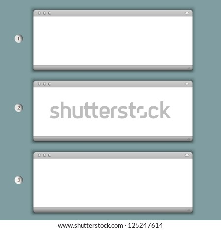 Creative Progress background with three browser windows. Raster version