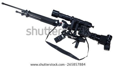 creative rifle from cameras isolated on white background - stock photo