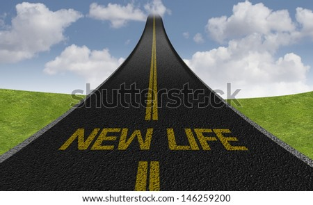 Creative road with the message - New Life - stock photo