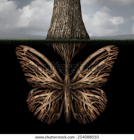 Creative roots concept as a tree with a root shaped as a butterfly as a powerful environmental metaphor or symbol for inner thoughts and strong creativity foundation. - stock photo