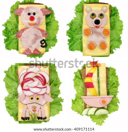 creative sandwich with cheese and salami pig form - stock photo