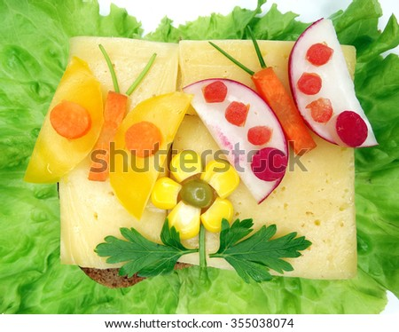 creative sandwich with cheese and sausage butterflies form - stock photo