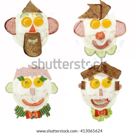 creative scrambled egg breakfast face shape collage - stock photo