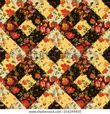 Creative seamless patchwork pattern with flowers. Vintage boho style - stock photo