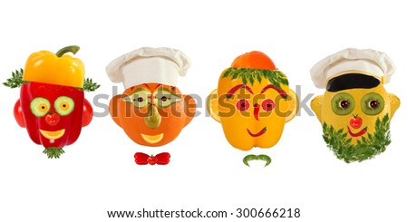 Creative set of food concept. A few  funny portraits from vegetables and fruits. - stock photo