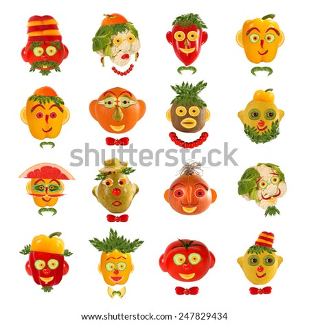Creative set of food concepts. A few  funny portraits from vegetables and fruits. - stock photo