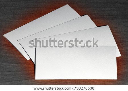 Creative set of mockup, template visit card on wood background?  BW gradient tune.
