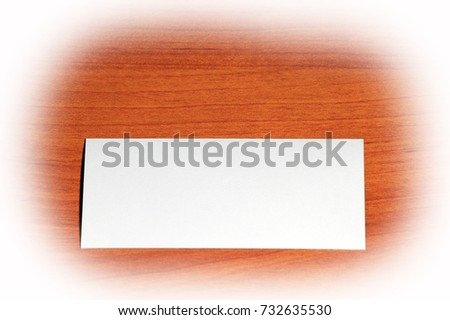 Creative set of mockup, template visit card on wood background with white vignette