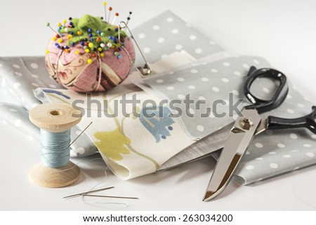 Creative sewing supplies - stock photo