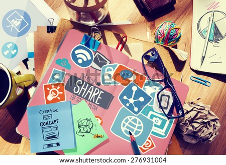 Creative Share Social Media Social Network Internet Online Concept - stock photo