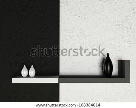 creative shelf  on the wall, rendering - stock photo