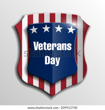 Creative shield USA Independence Day, Veterans Day - stock photo