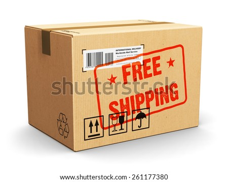 Creative shipment, logistics and retail parcel goods delivery commercial business concept: corrugated cardboard package box with Free Shipping text label sticker stamp isolated on white background - stock photo