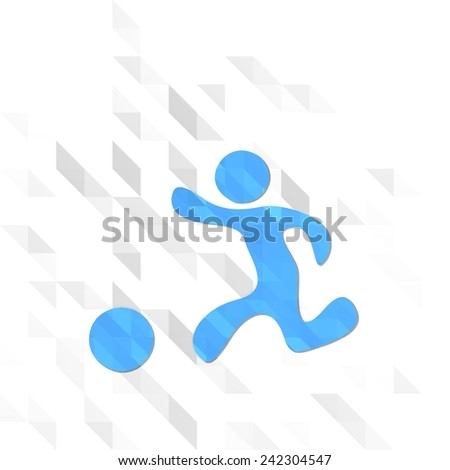 creative sign low poly of playing boy isolated on trendy white triangle background