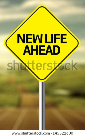 Creative sign with the message - New Life Ahead - stock photo