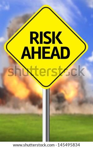 Creative sign with the message - Risk Ahead - stock photo