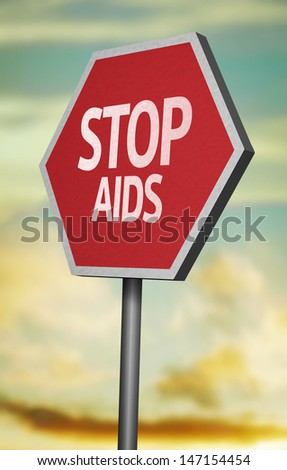 Creative sign with the message - Stop Aids - stock photo