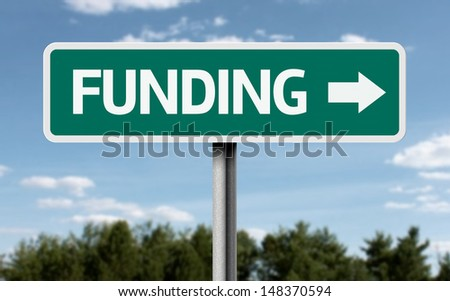 Creative sign with the text - Funding  - stock photo