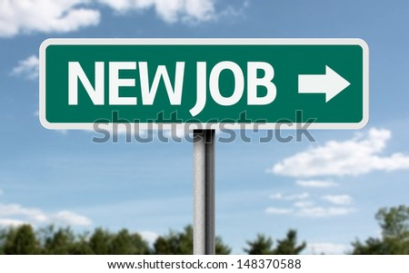 Creative sign with the text - New Job  - stock photo