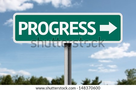 Creative sign with the text - Progress  - stock photo