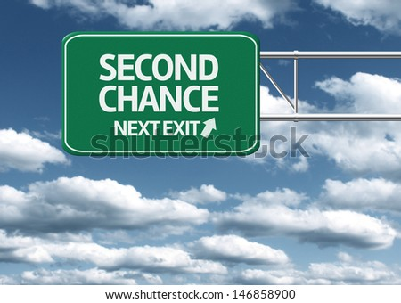 Creative sign with the text - Second Chance - stock photo