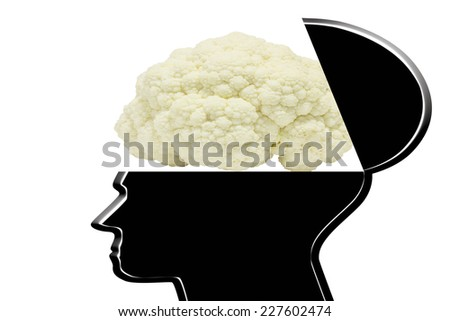Creative silhouette opening skull head cauliflower in form of the human brain isolated on white background with clipping path  - stock photo