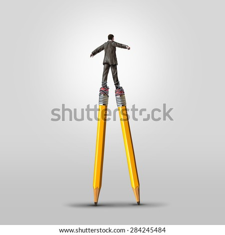 Creative skill concept as a clever businessman balancing on high pencil stilts attached to his legs as a business metaphor for leadership in imagination and innovative solution ideas. - stock photo